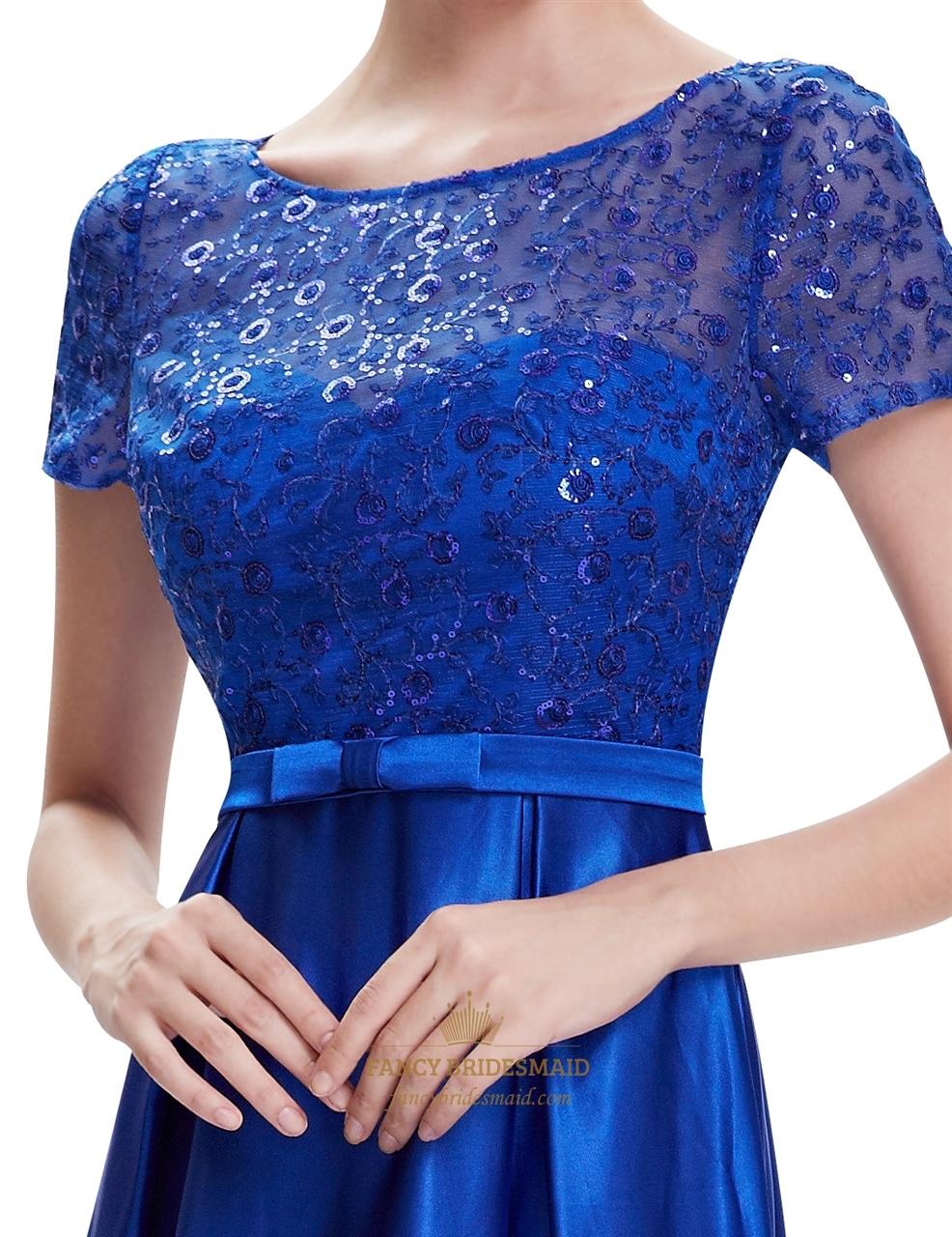 Royal blue short sleeve long bridesmaid dresses with lace bodice royal blue short sleeve long bridesmaid dresses with lace bodice ombrellifo Image collections
