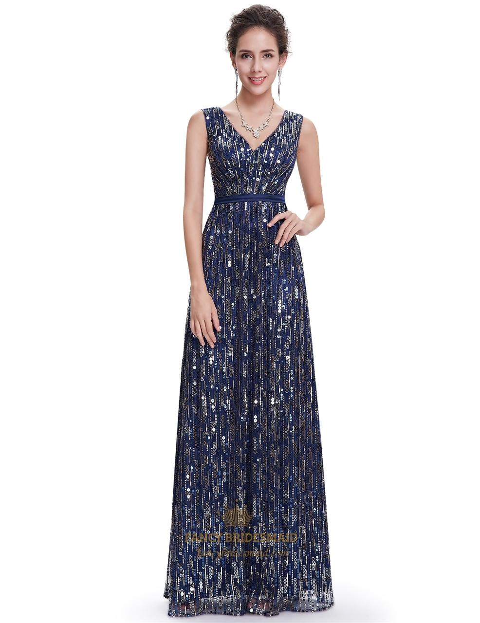 a1c827b6 Elegant Navy Blue Floor Length Contrast V-Neck Sequin Prom Dress SKU -NW1514