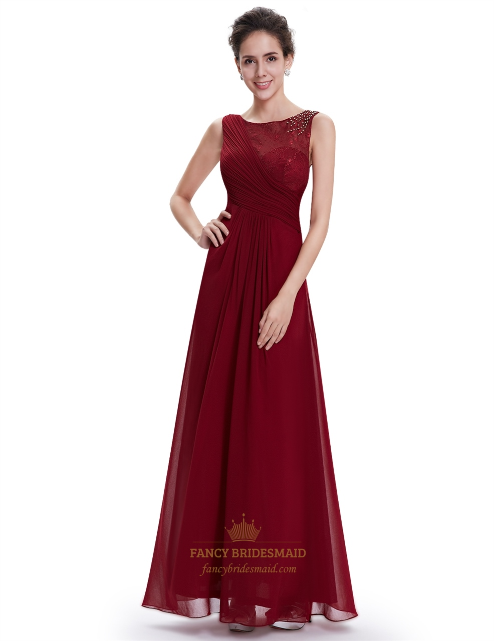 Burgundy lace top chiffon long bridesmaid dresses with beaded burgundy lace top chiffon long bridesmaid dresses with beaded detail ombrellifo Gallery