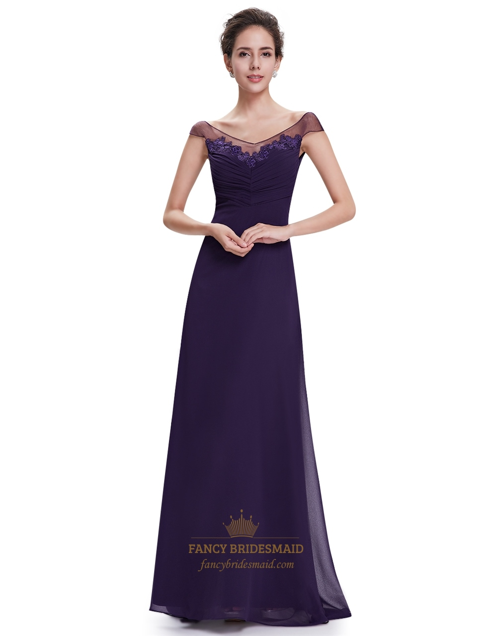 purple chiffon v neck cap sleeves bridesmaid dresses with