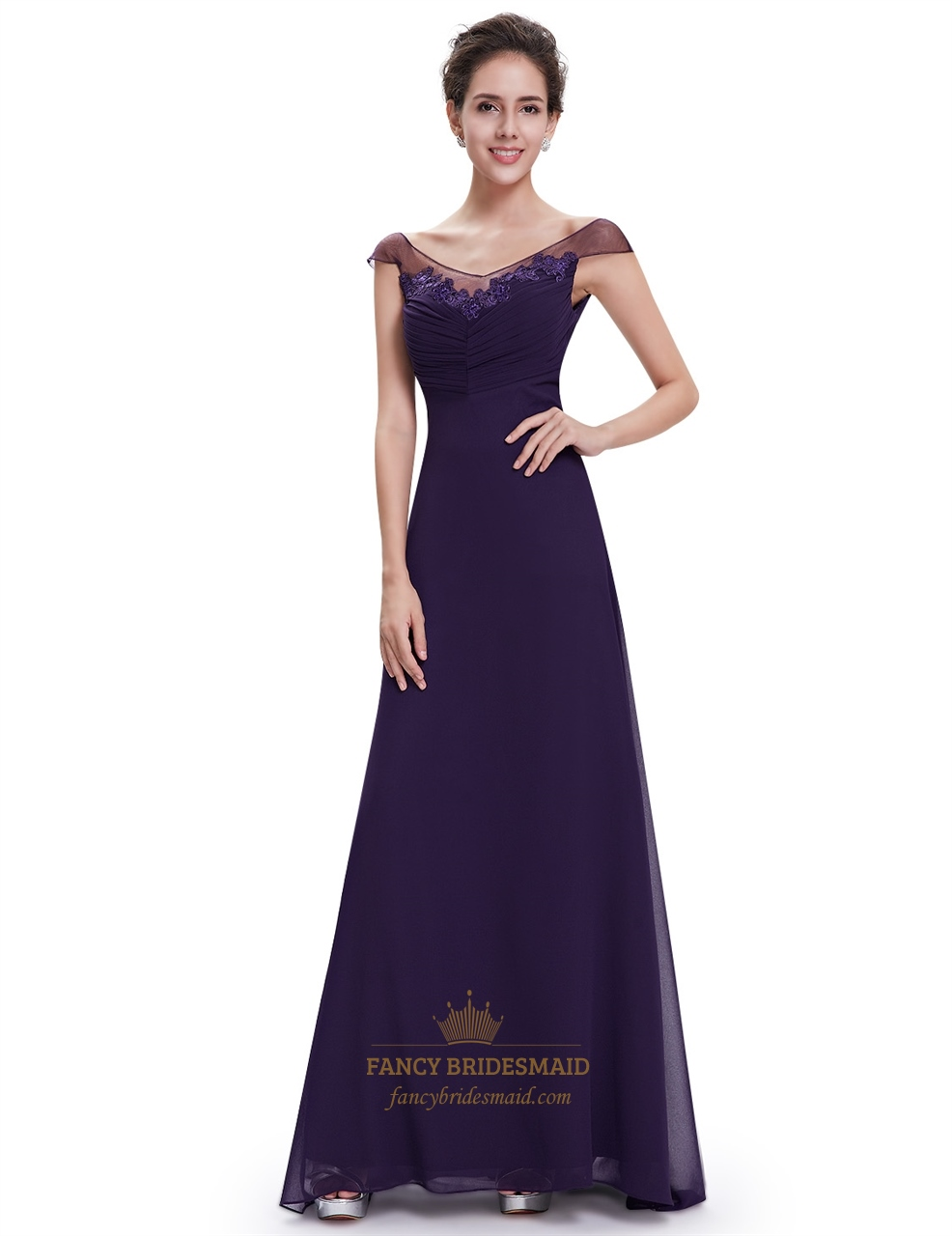 purple chiffon v neck cap sleeves bridesmaid dresses with