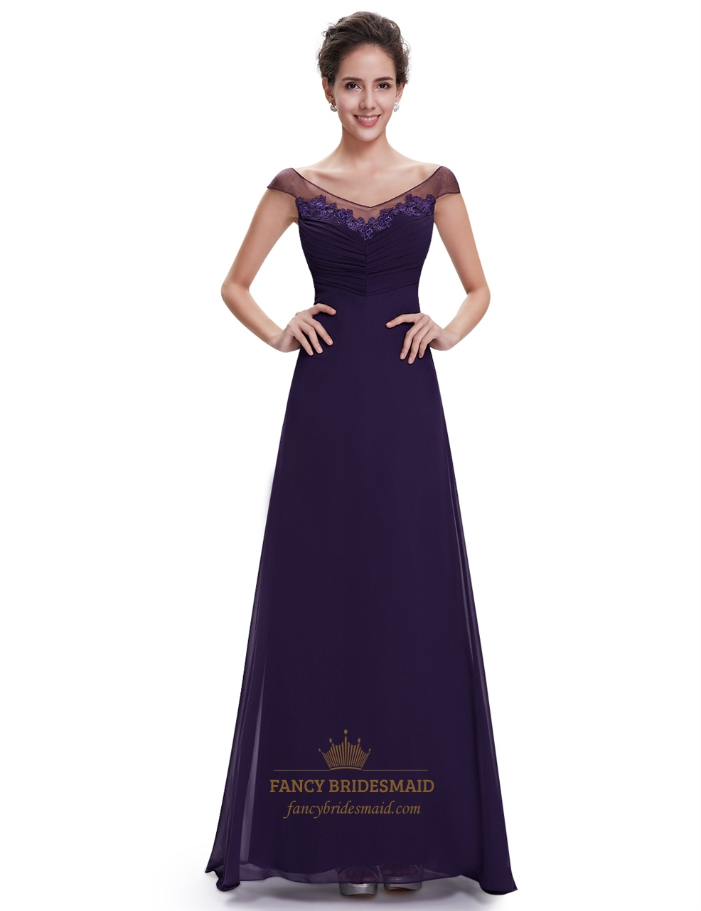 Purple chiffon v neck cap sleeves bridesmaid dresses with for Purple lace wedding dress