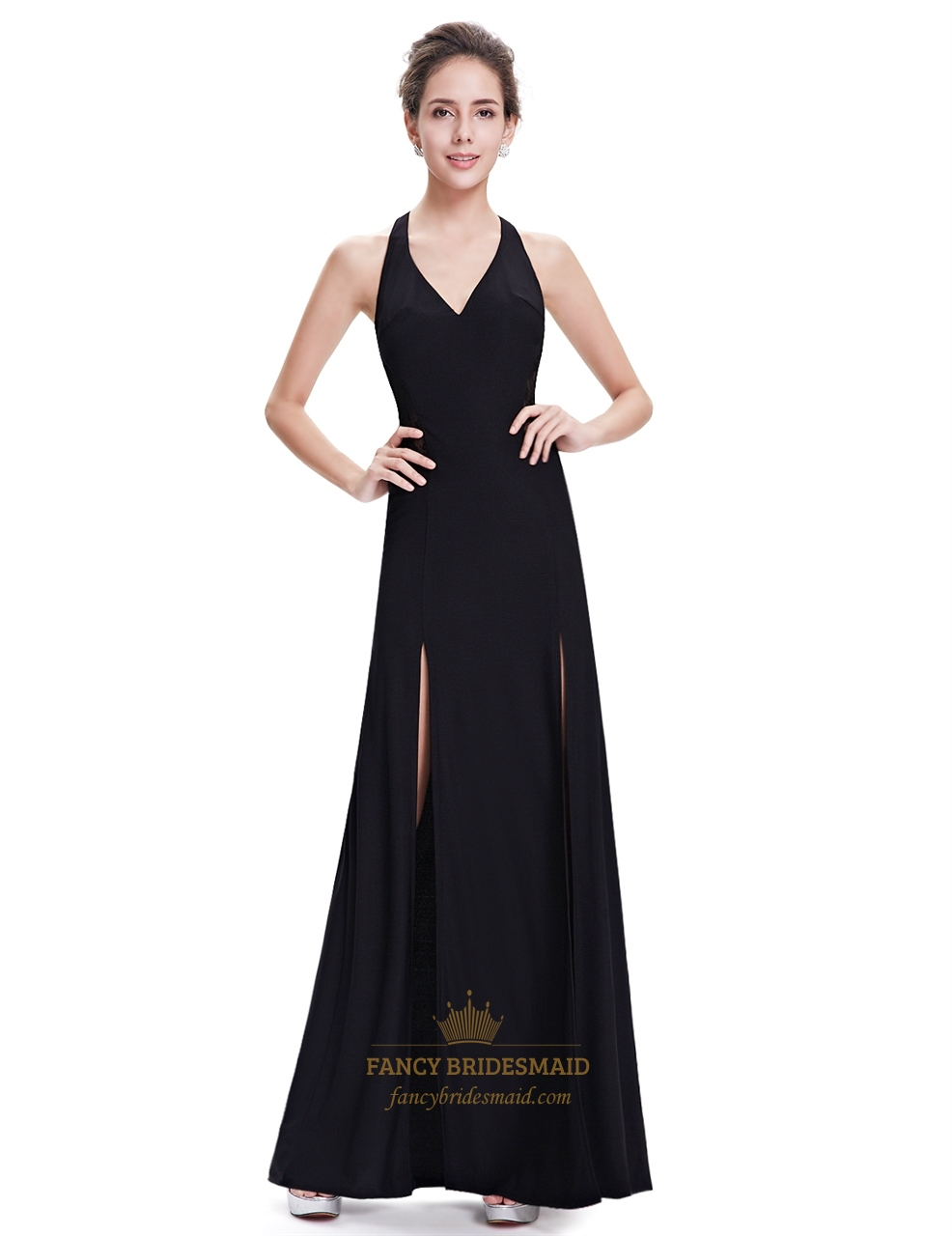 Black Chiffon Split Front Open Back Long Party Dress With ...