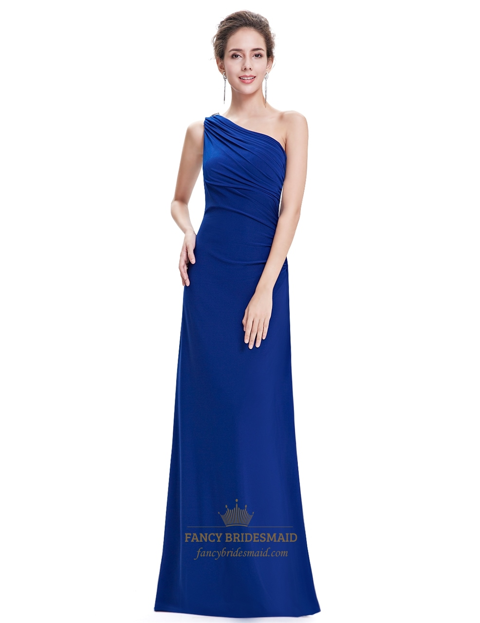 Royal Blue One Shoulder Sheath Bridesmaid Dress With Ruffle Back