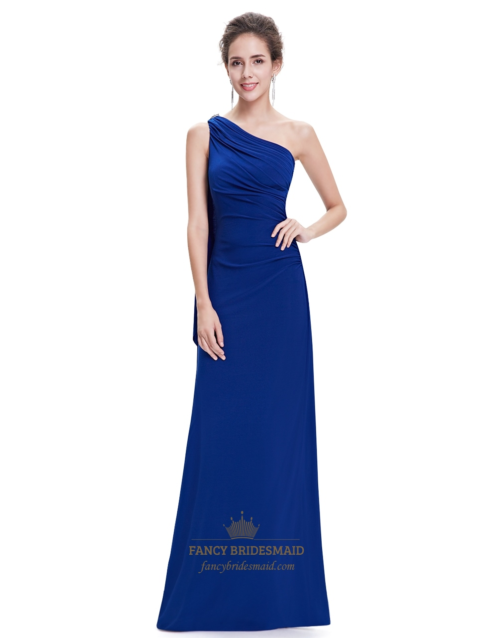 royal blue one shoulder sheath bridesmaid dress with