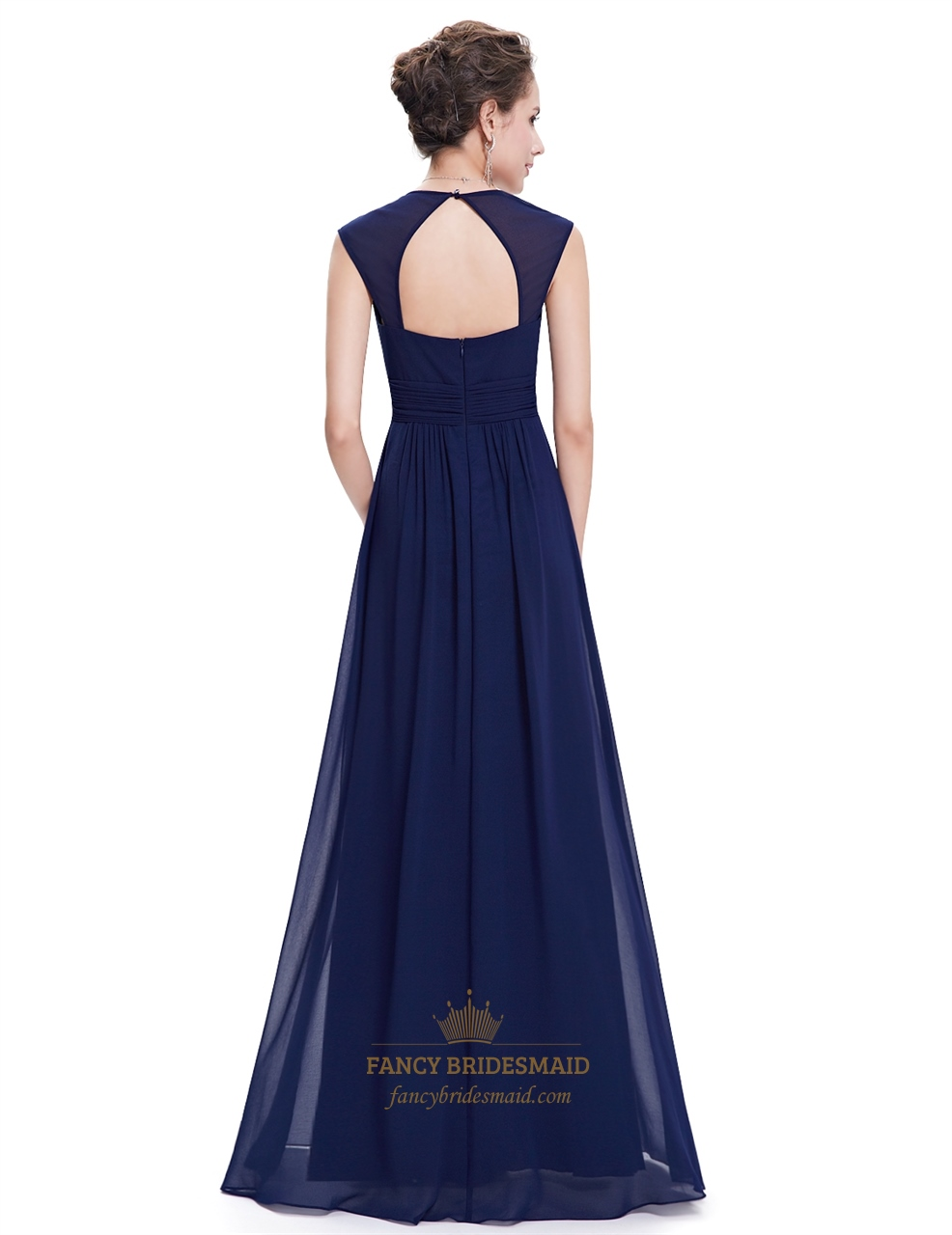 Navy blue chiffon bridesmaid dresses with cap sleeve and for Navy blue wedding dress