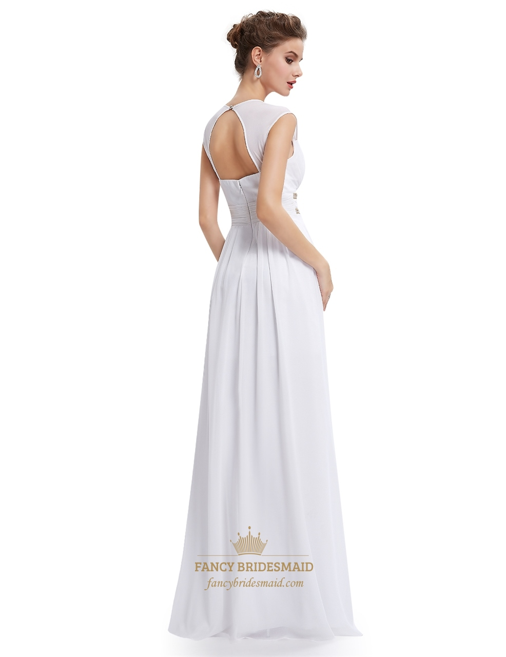 White Chiffon Bridesmaid Dresses With Cap Sleeve And Open ...