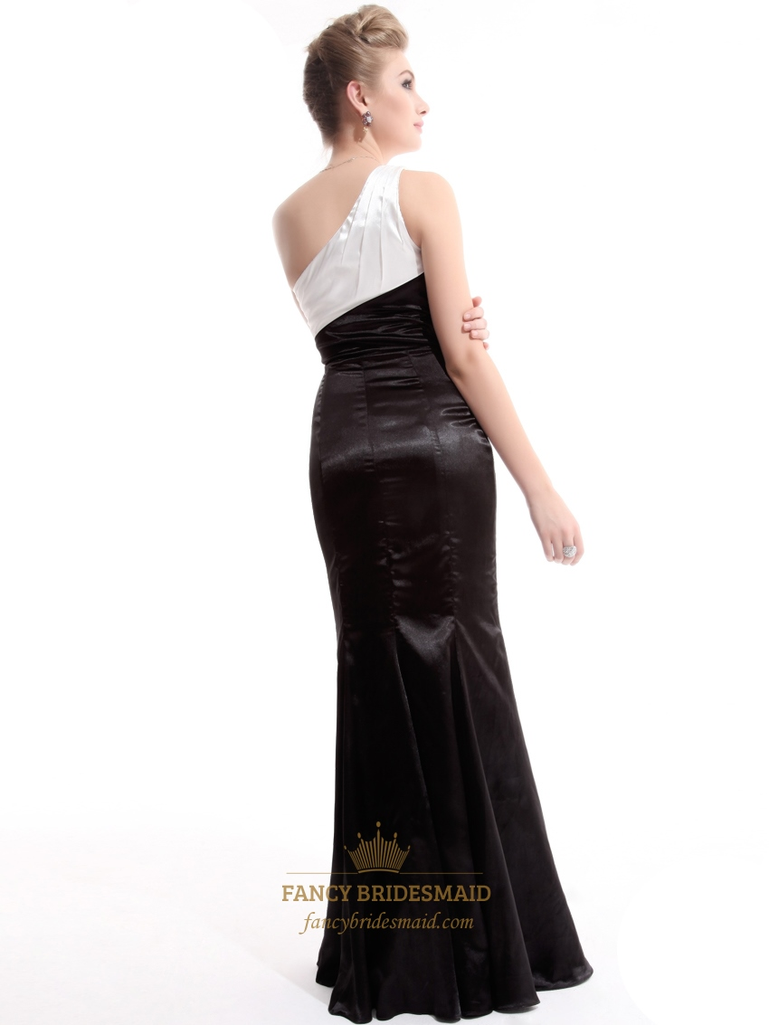 White prom dress one shoulder