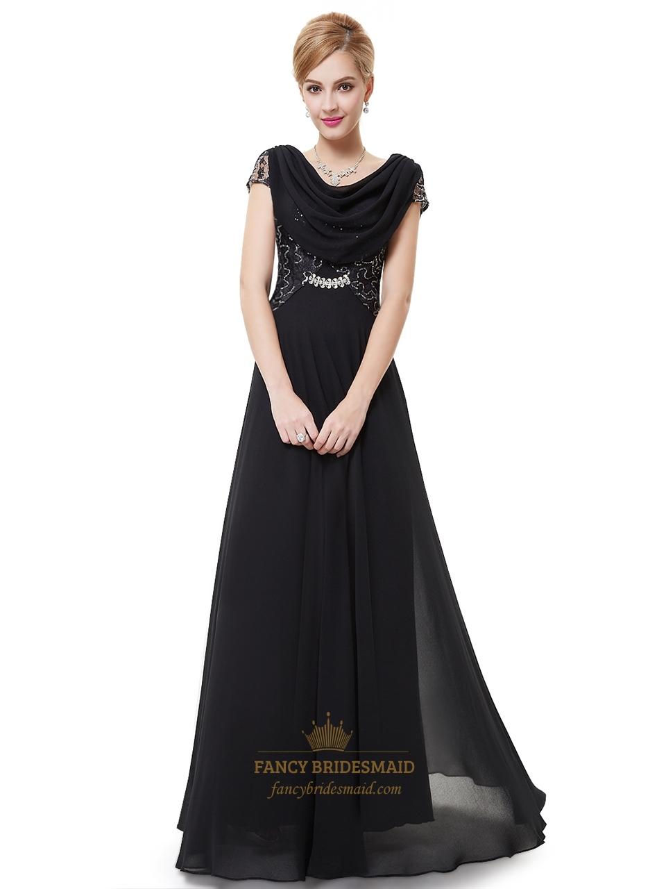 acdd73dbd0ab Black Chiffon Cap Sleeves Cowl Back Prom Dress With Lace Bodice SKU -NW1530