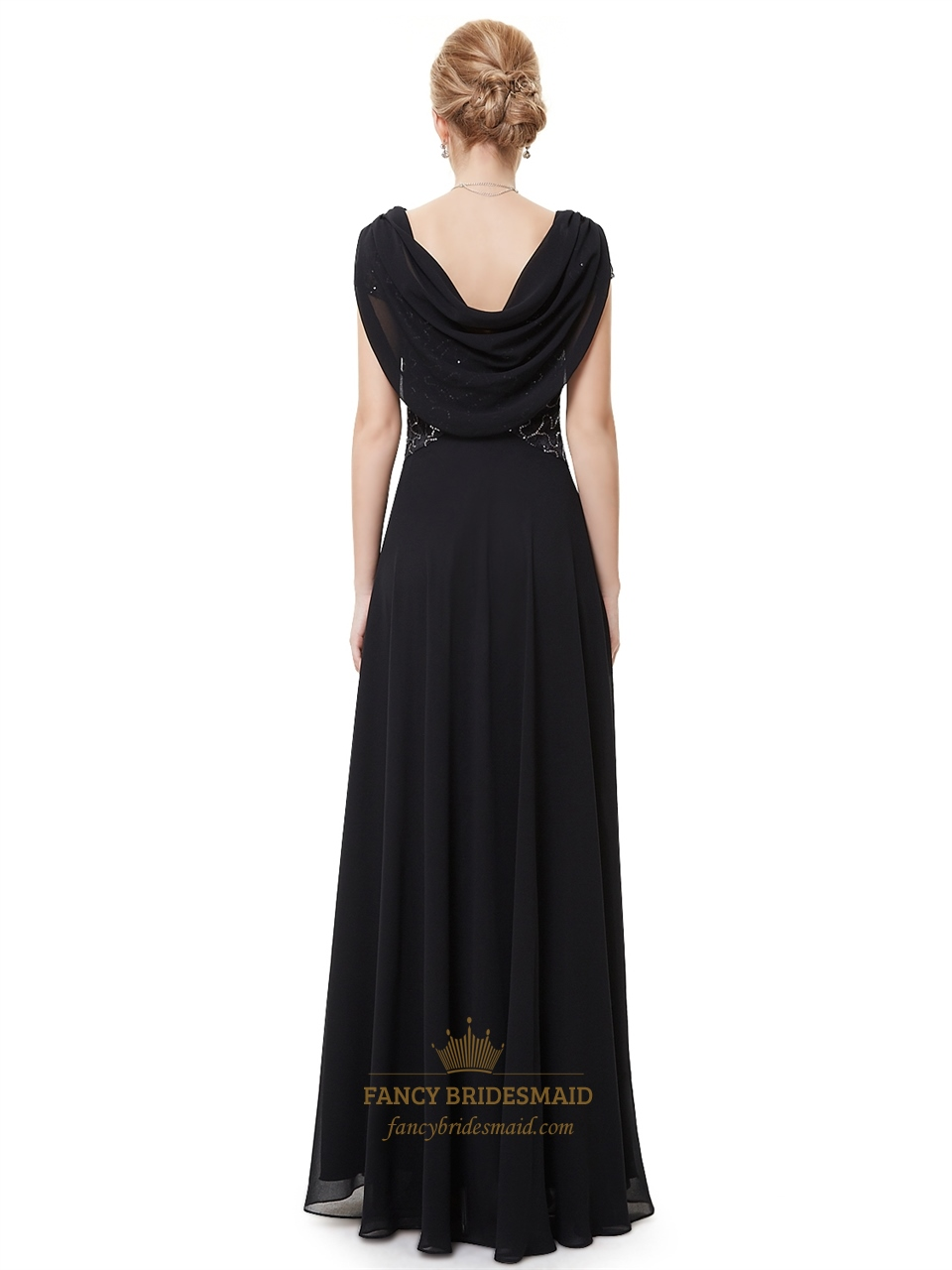 Black Bridesmaid Dresses With Cap Sleeves : Black chiffon cap sleeves cowl back prom dress with lace