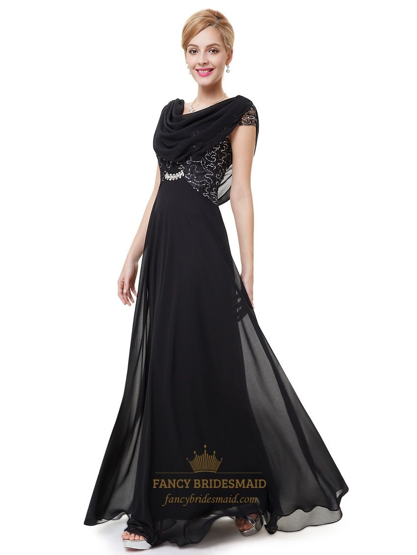 Black Chiffon Cap Sleeves Cowl Back Prom Dress With Lace