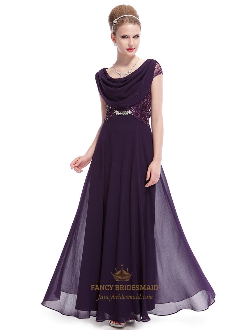 b50b3689b23 Purple Chiffon Cap Sleeves Cowl Back Prom Dress With Lace Bodice SKU -NW1531
