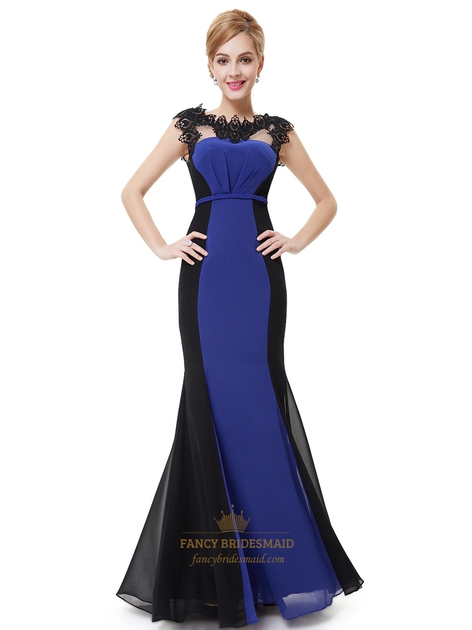 Royal blue and black chiffon mermaid prom dresses with lace royal blue and black chiffon mermaid prom dresses with lace applique ombrellifo Images