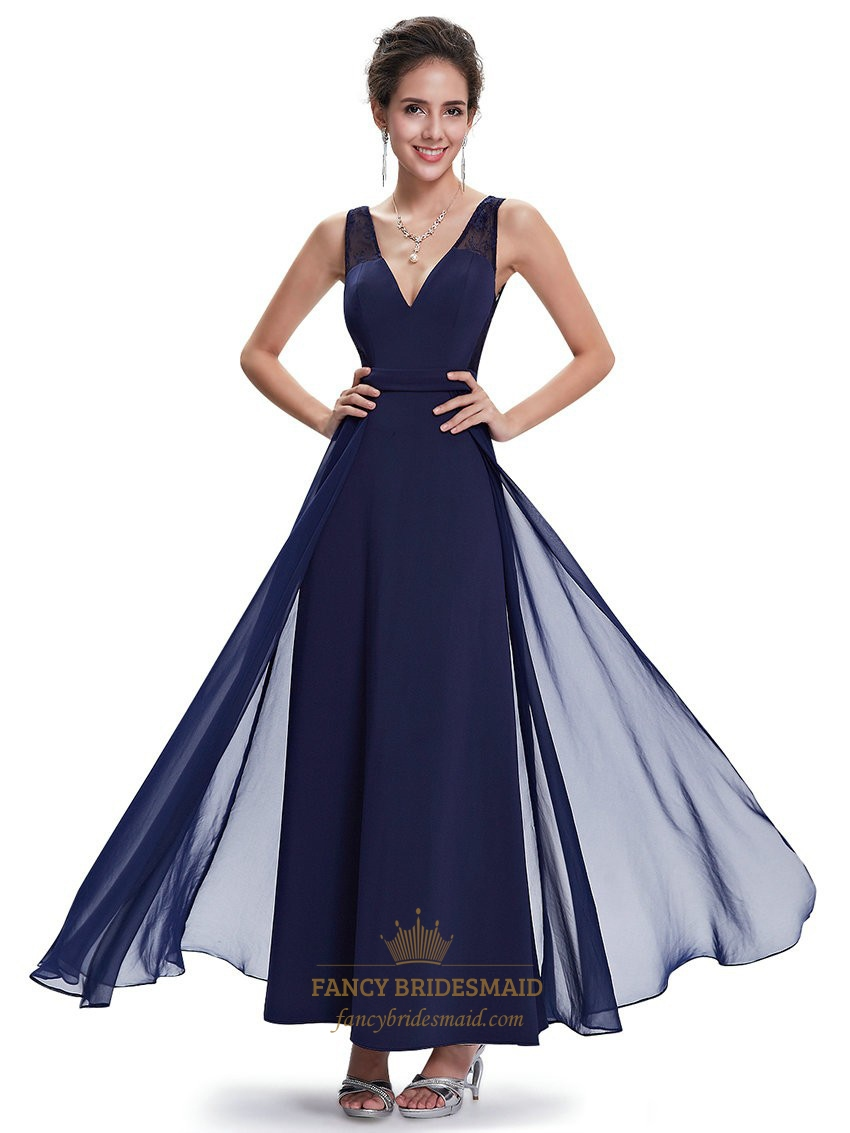 Flowy navy blue v neck chiffon floor length bridesmaid dresses flowy navy blue v neck chiffon floor length bridesmaid dresses ombrellifo Image collections