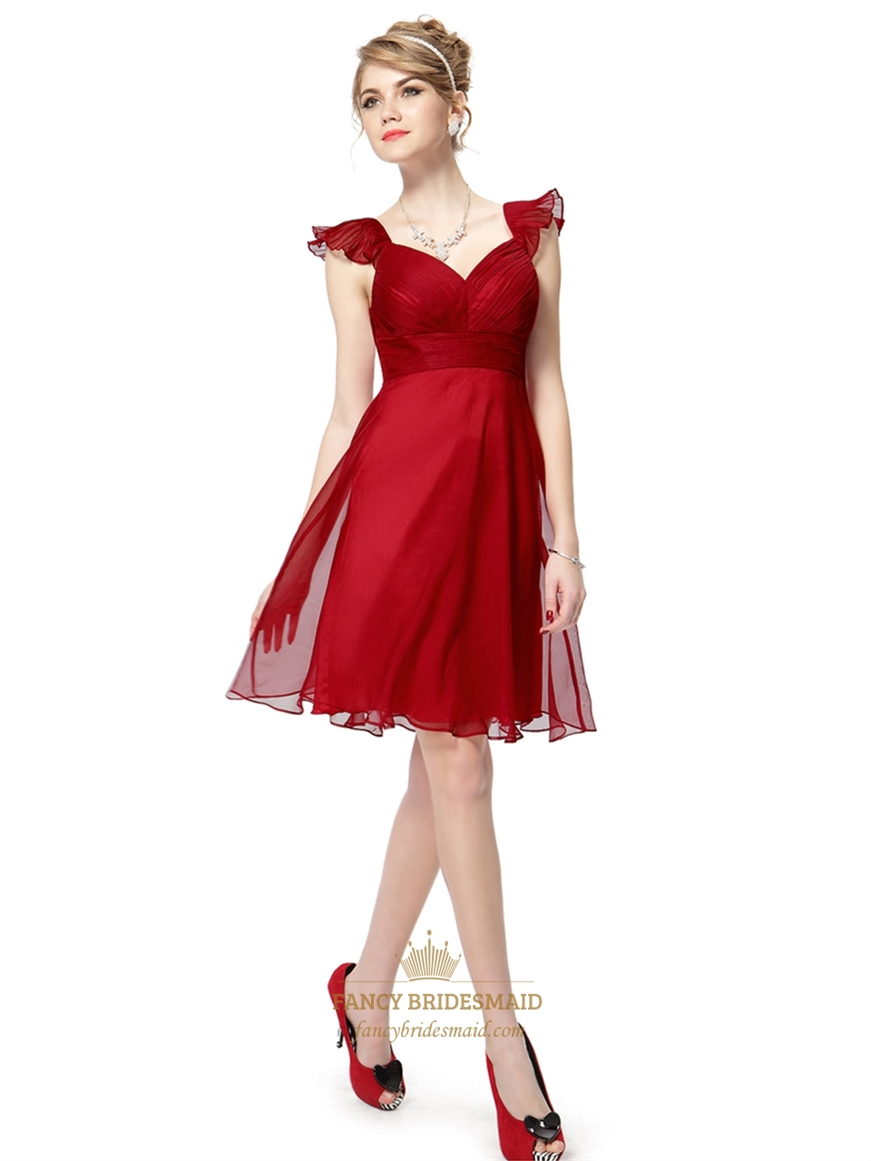 Red chiffon knee length bridesmaid dresses with flutter for Red wedding dresses with sleeves