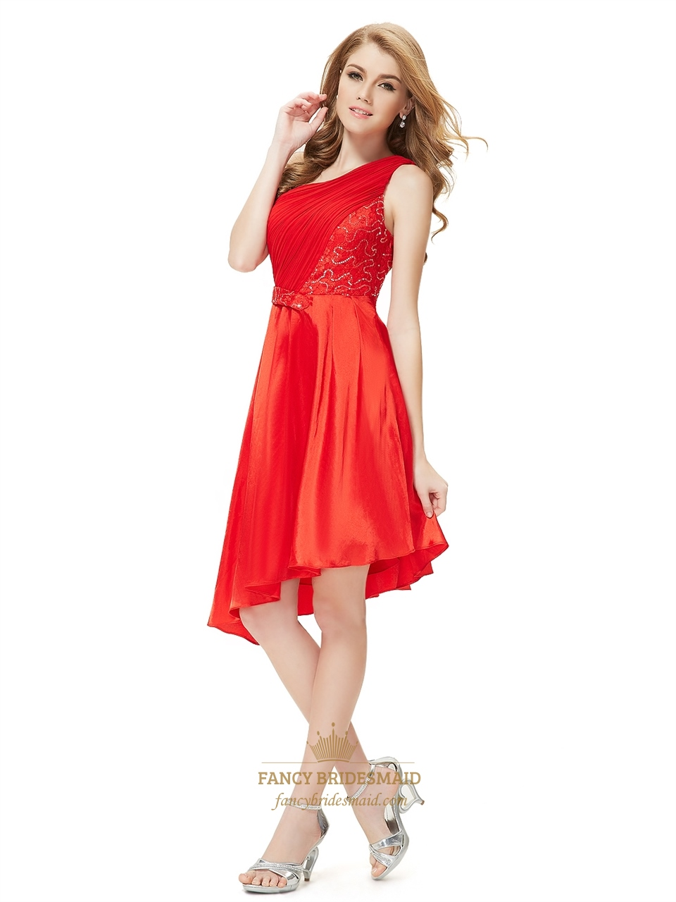 Red One Shoulder Short Asymmetrical Hem Bridesmaid Dresses With Lace ...