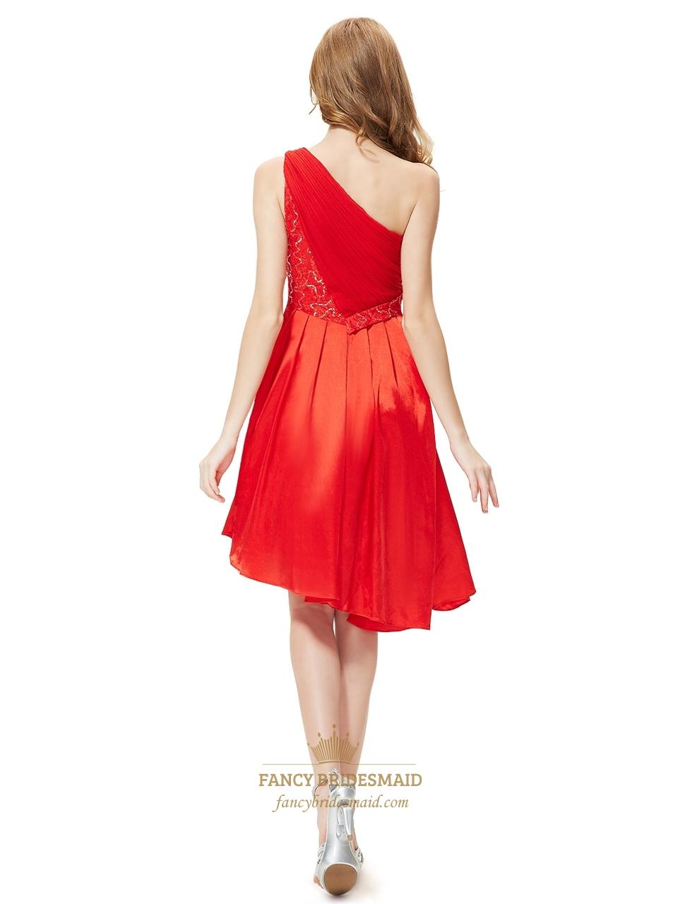 Red one shoulder short asymmetrical hem bridesmaid dresses for Wedding dresses asymmetrical hemline