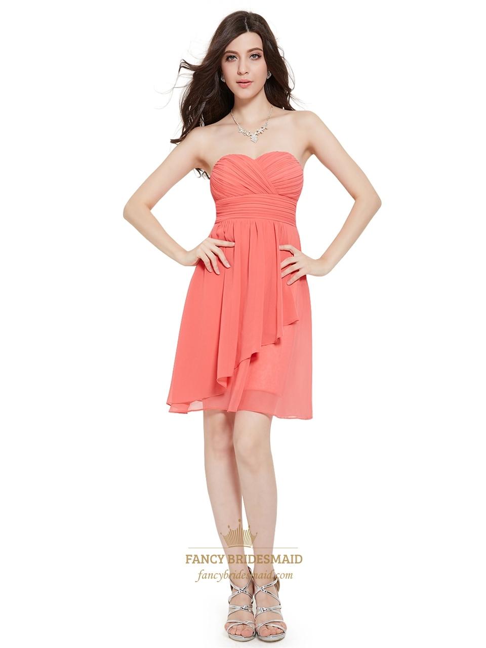 dd3b72bdbe Coral Crinkle Chiffon Short Bridesmaid Dress With Front Cascade ...