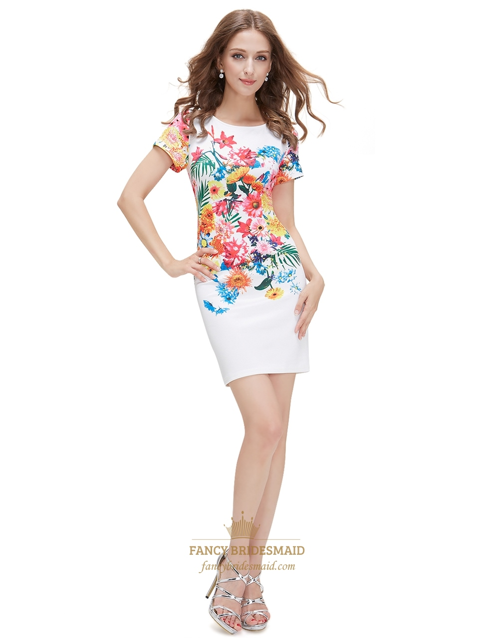 white floral print bodycon short summer dress with short
