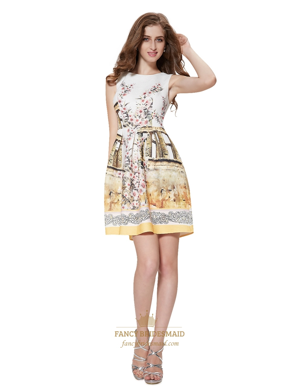 Vintage Style Sleeveless Floral Print Fit And Flare Skater