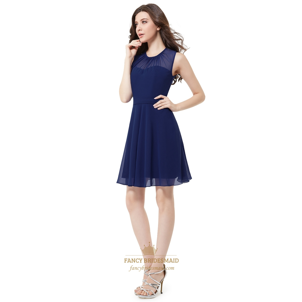 Elegant Navy Blue Sleeveless Short Chiffon Bridesmaid