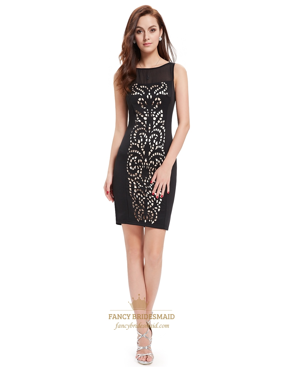 sophisticated black sleeveless hollow out bodycon cocktail