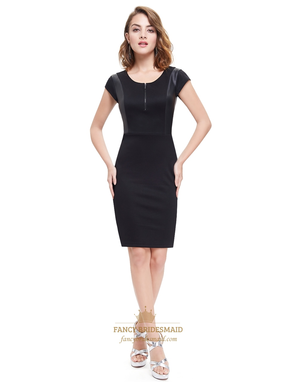 Black cap sleeves bodycon mini summer dress with leather for Leather wedding dresses black