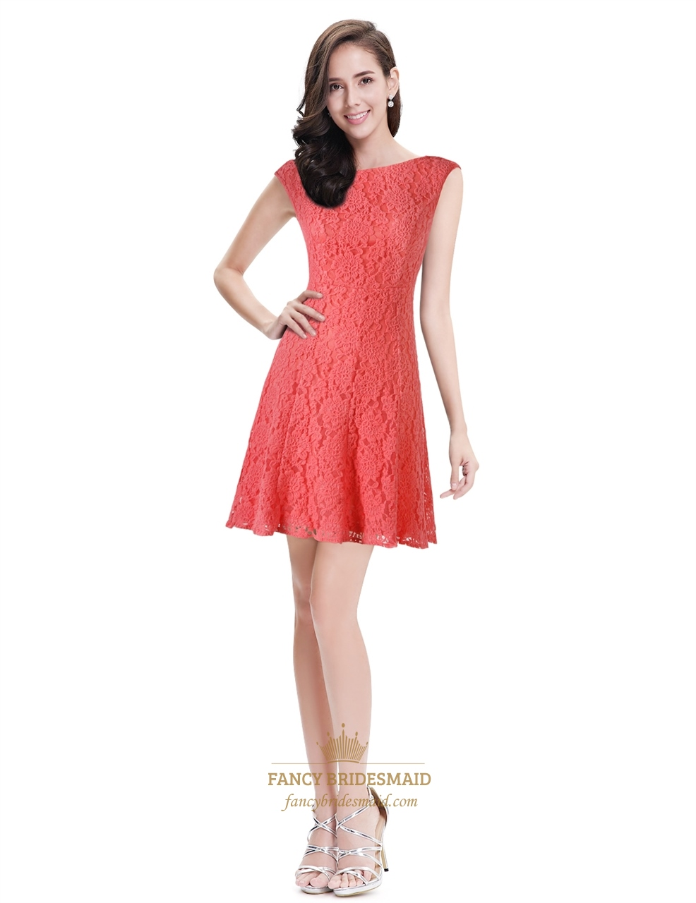 coral lace fit and flare short cocktail dress with cap