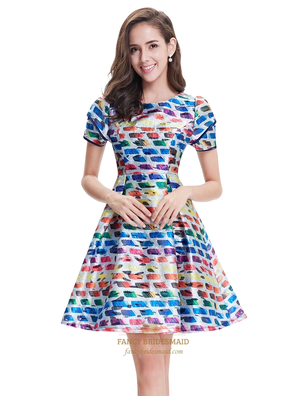 Cheap Dresses, Buy Directly from China Suppliers:Women Fit and Flare Party Dress Vintage Dot Print Summer Casual Dress Summer O-Neck Short Sleeve Fold Elegant Mid Dresses Enjoy Free Shipping Worldwide! Limited Time Sale Easy Return/5().