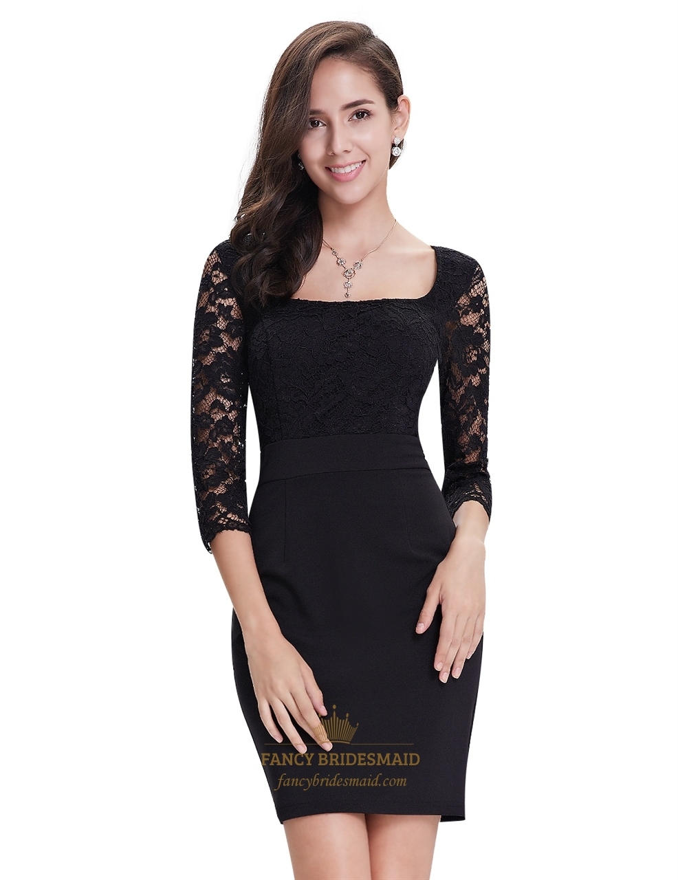 black lace sheath short cocktail dress with 34 sleeves