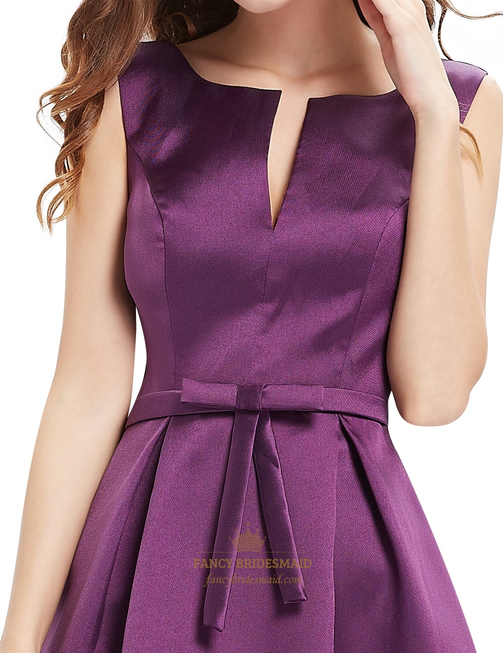 grape fit and flare v neck cocktail dresses with