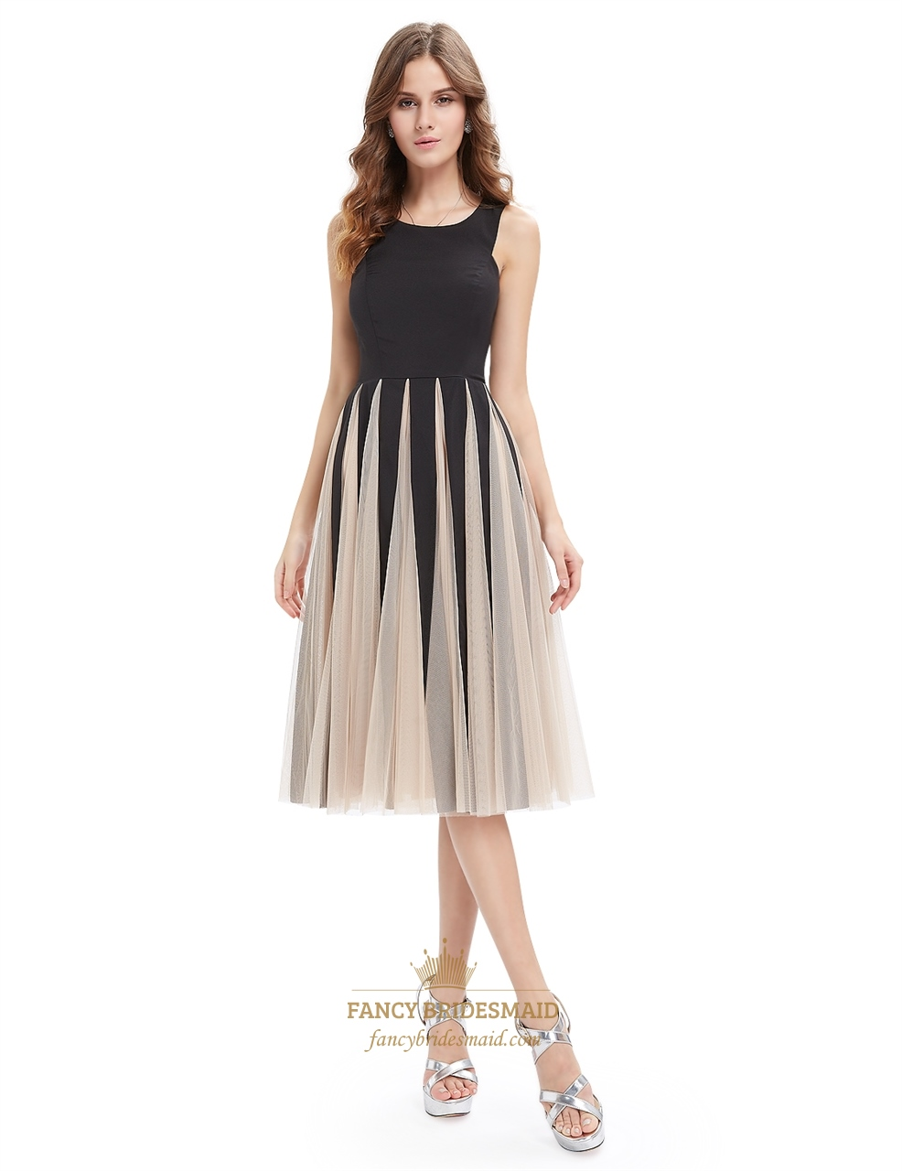 Black and champagne midi length cocktail dress with tulle for Midi length wedding dress