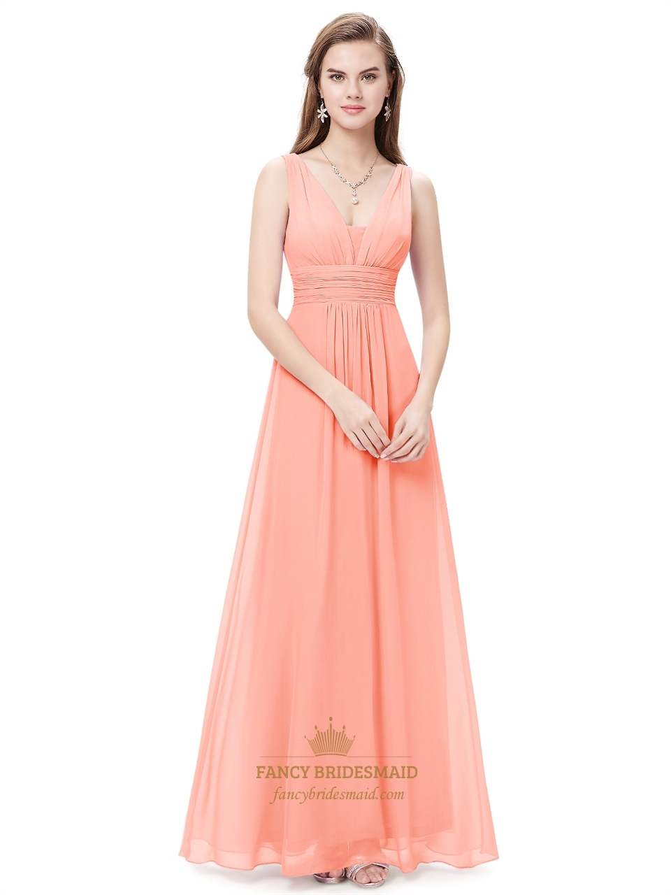 Peach v neck chiffon long bridesmaid dresses for beach for Dresses for wedding bridesmaid
