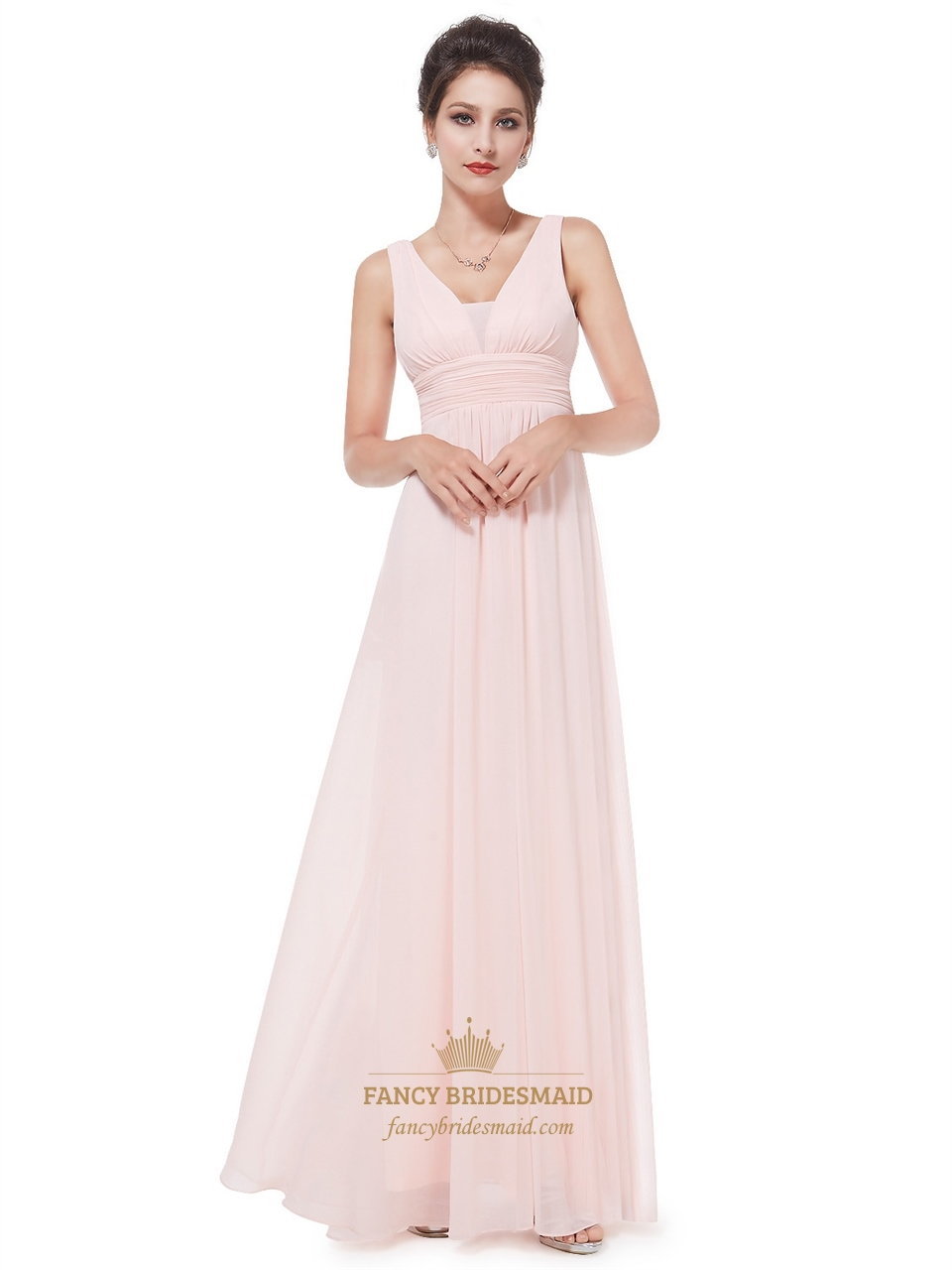 peach v neck chiffon long bridesmaid dresses for beach