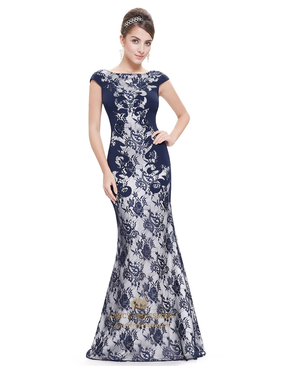 Blue navy lace prom dress recommendations dress in autumn in 2019