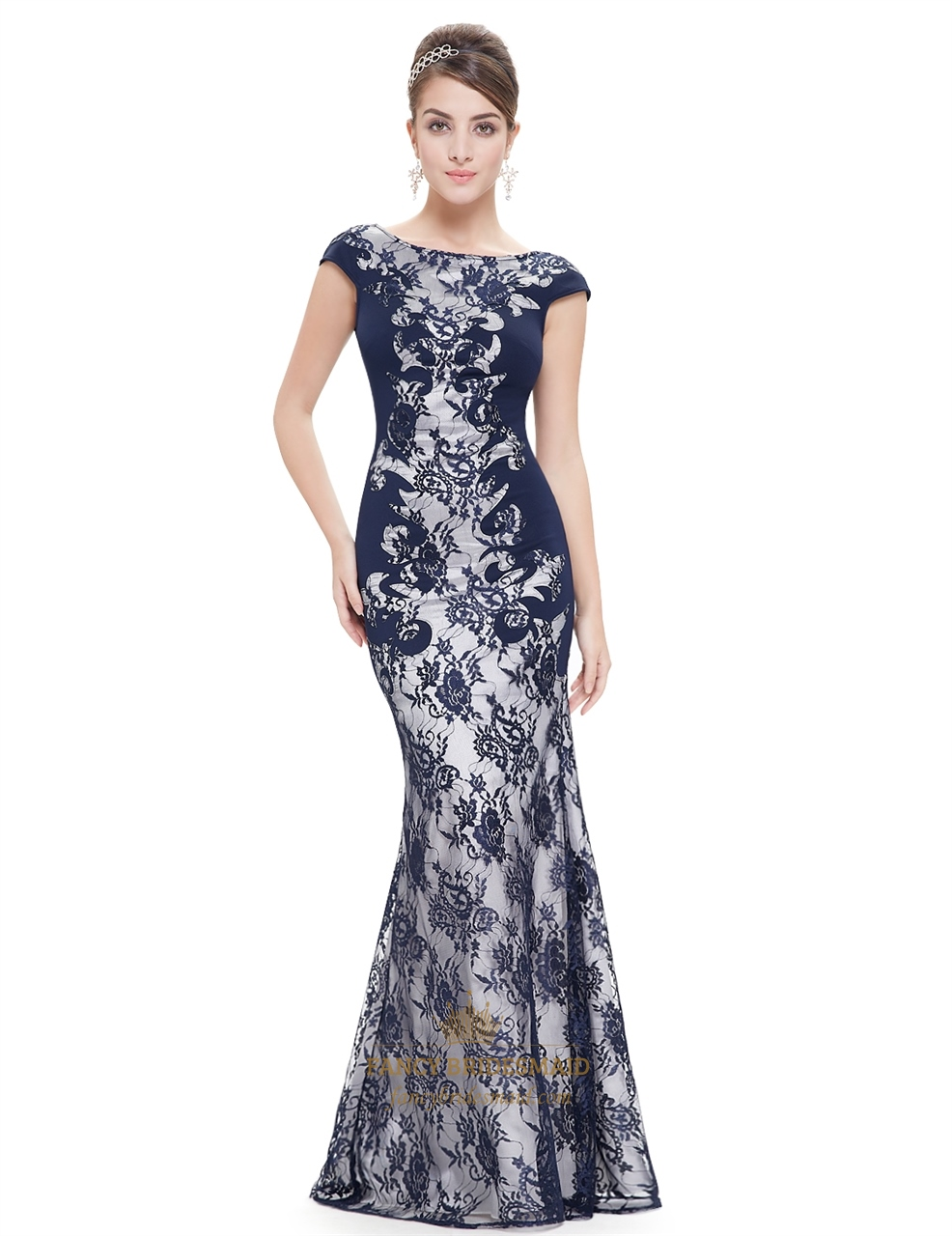 Elegant Navy Blue Mermaid Lace Prom Dress With Cap Sleeves