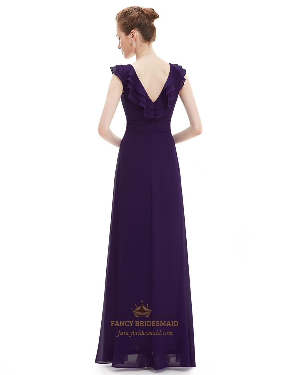 Purple a line v neck chiffon bridesmaid dress with ruffle for V neck a line wedding dresses
