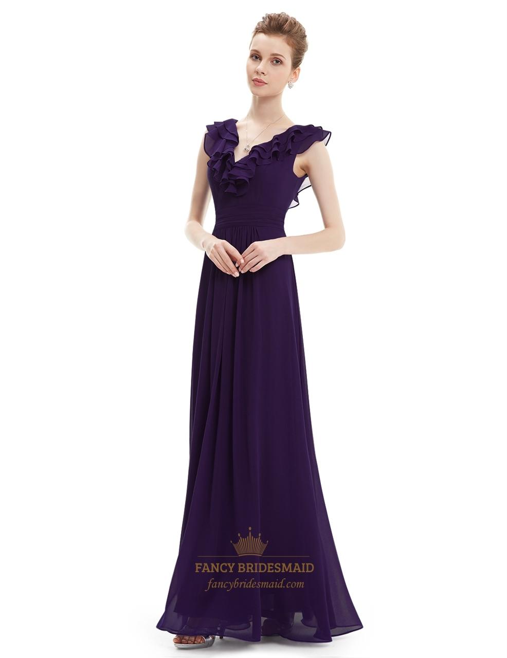 Purple a line v neck chiffon bridesmaid dress with ruffle collar purple a line v neck chiffon bridesmaid dress with ruffle collar ombrellifo Images