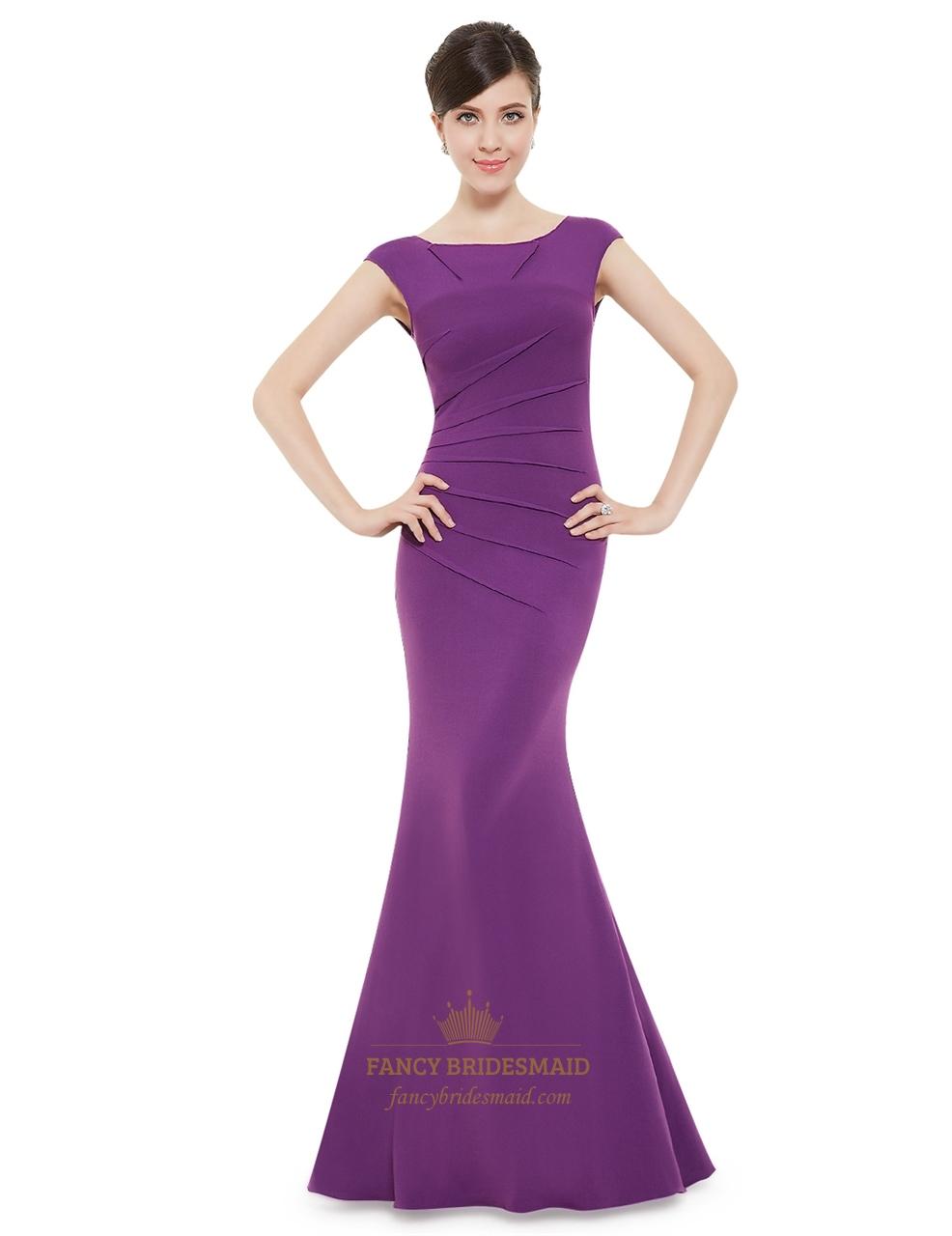 Elegant Royal Blue Cap Sleeves Mermaid Prom Dress With