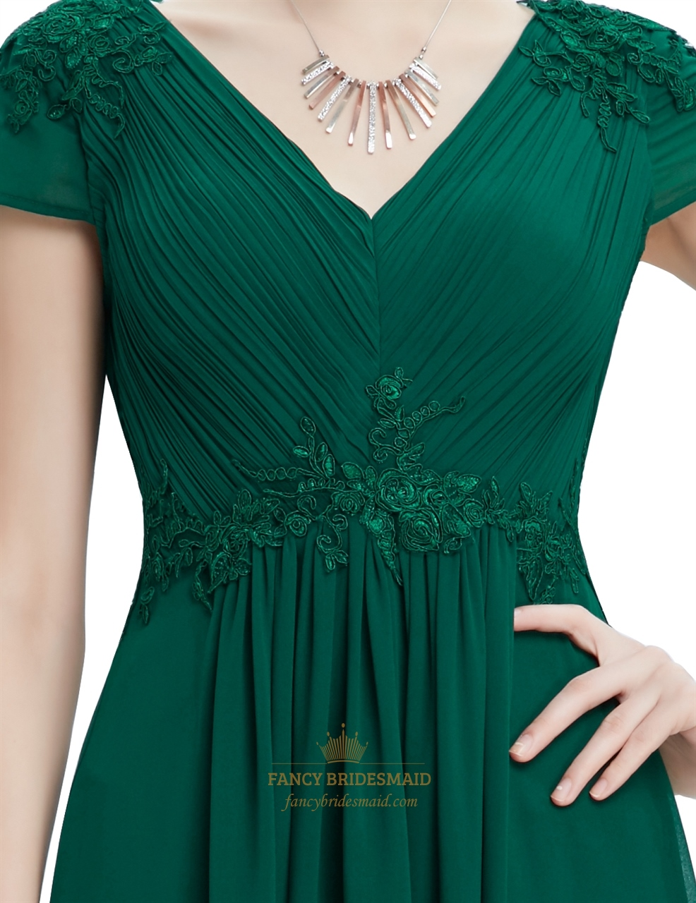 Emerald Green V Neck Chiffon Prom Dresses With Beaded Lace