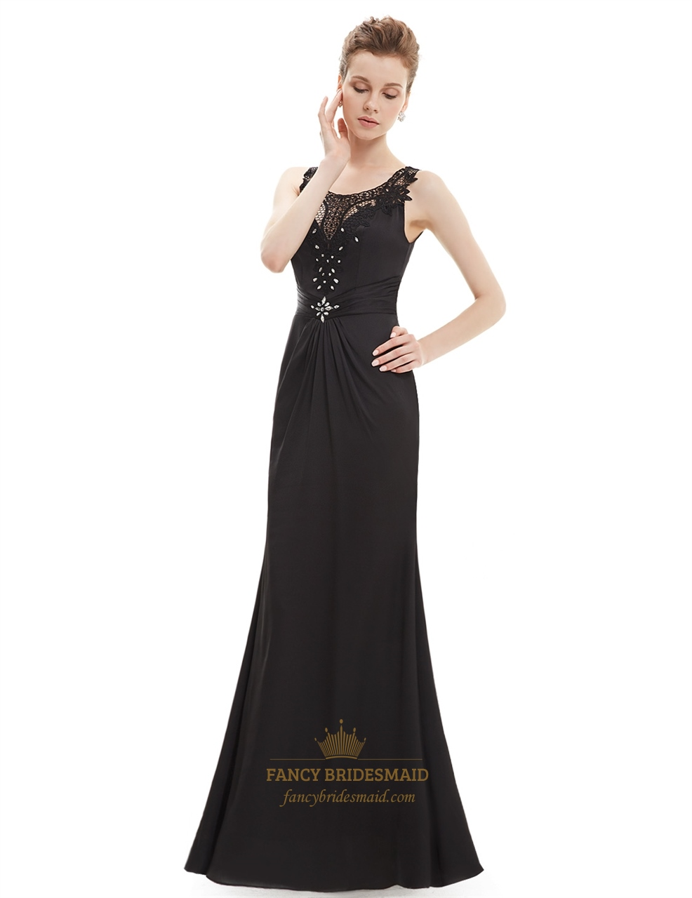 Black Lace Illusion Neckline Sheath Prom Dress With Beaded