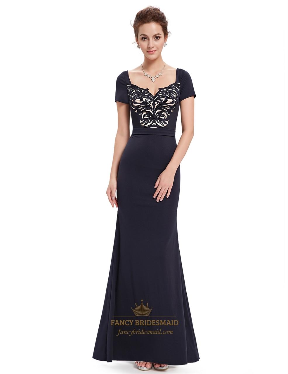black beaded mermaid short sleeves prom dress with sequin