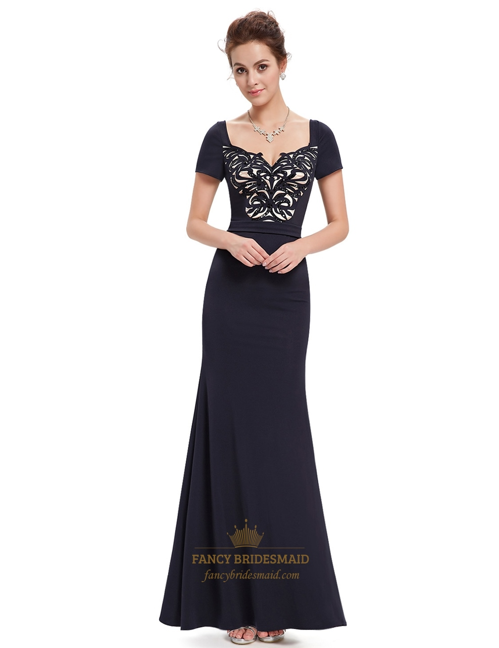 black beaded mermaid short sleeves prom dress with sequin