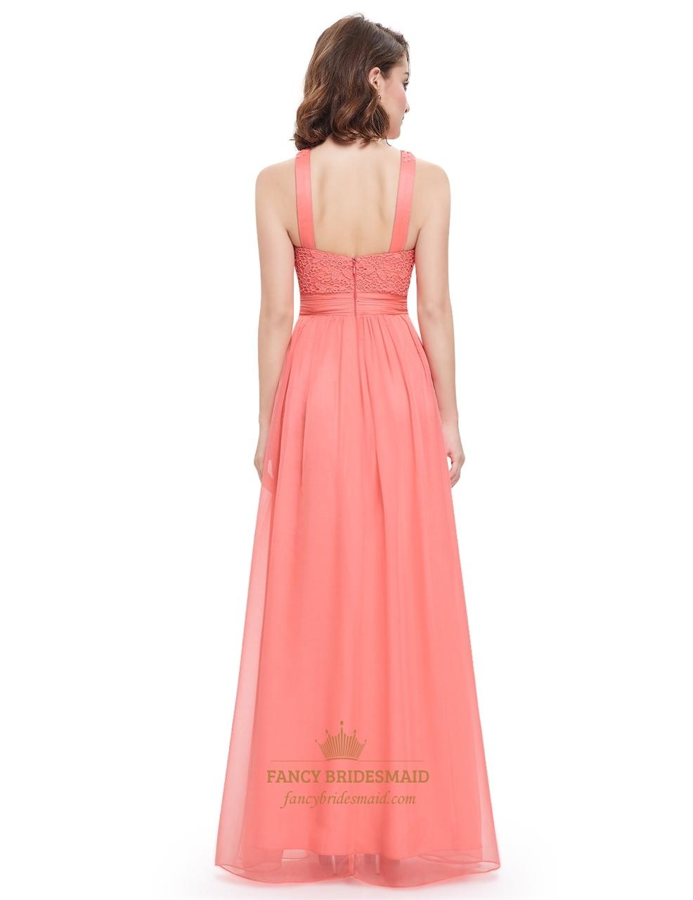 coral sleeveless beaded chiffon prom dress with jewelled