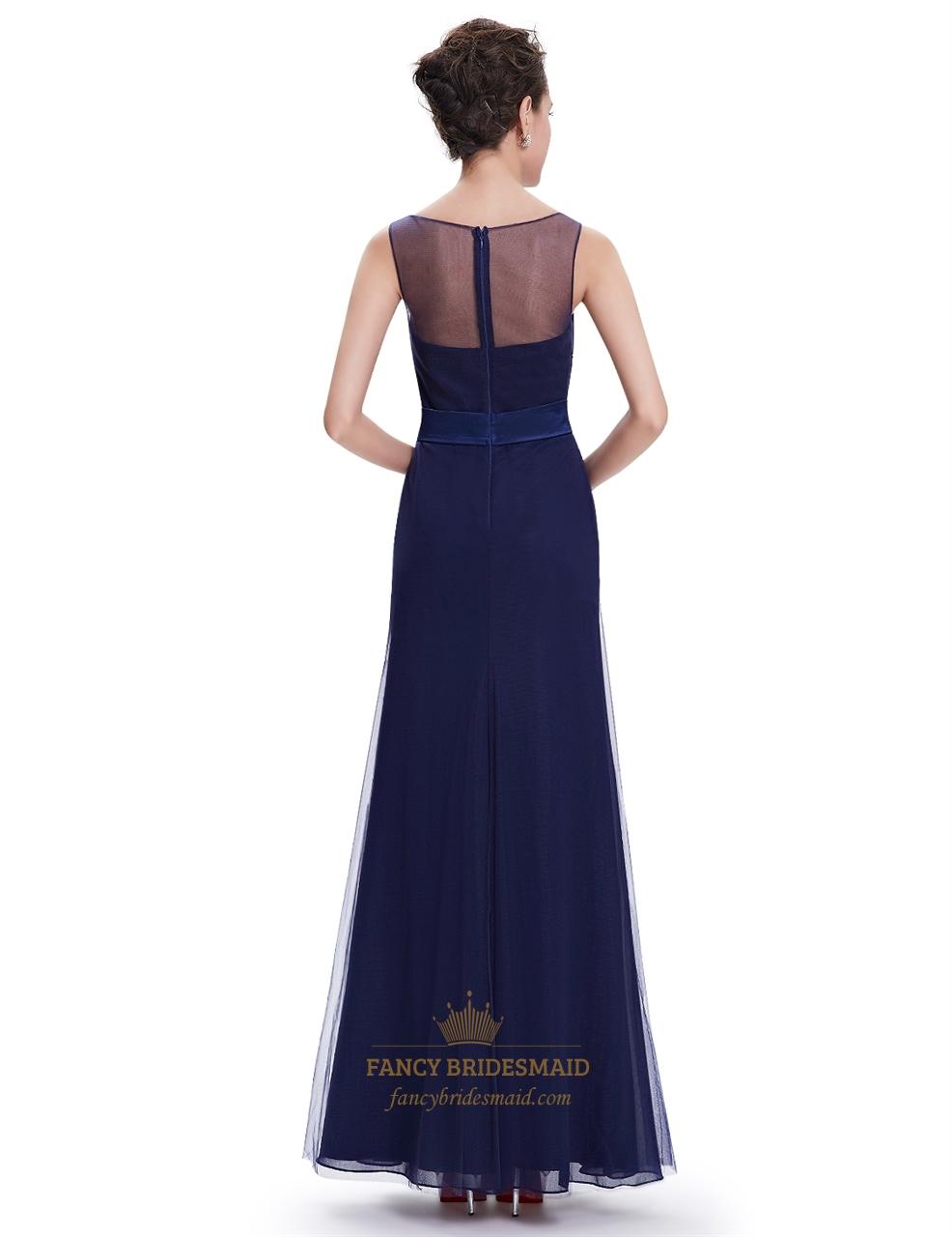 Navy Blue Sheath Floor Length Tulle Prom Dress With Beaded ...