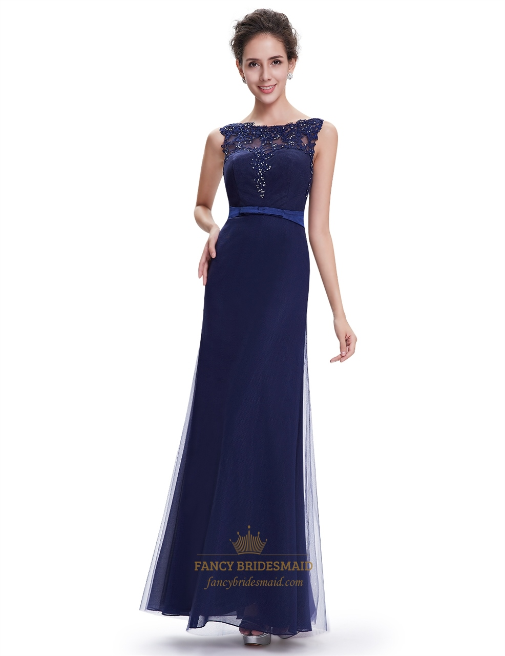 Navy blue sheath floor length tulle prom dress with beaded for Floor length dresses
