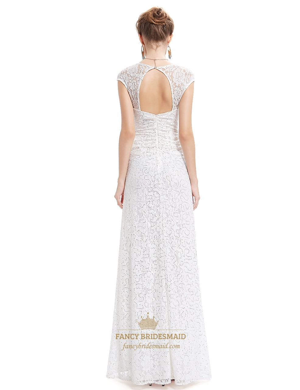 Ivory lace sheath wedding dress with cap sleeves and open for Lace wedding dresses open back