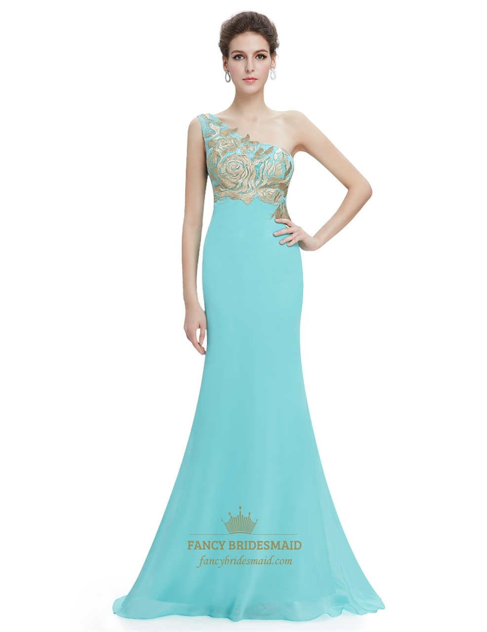 Prom Dresses With Gold Accents | Fancy Bridesmaid Dresses