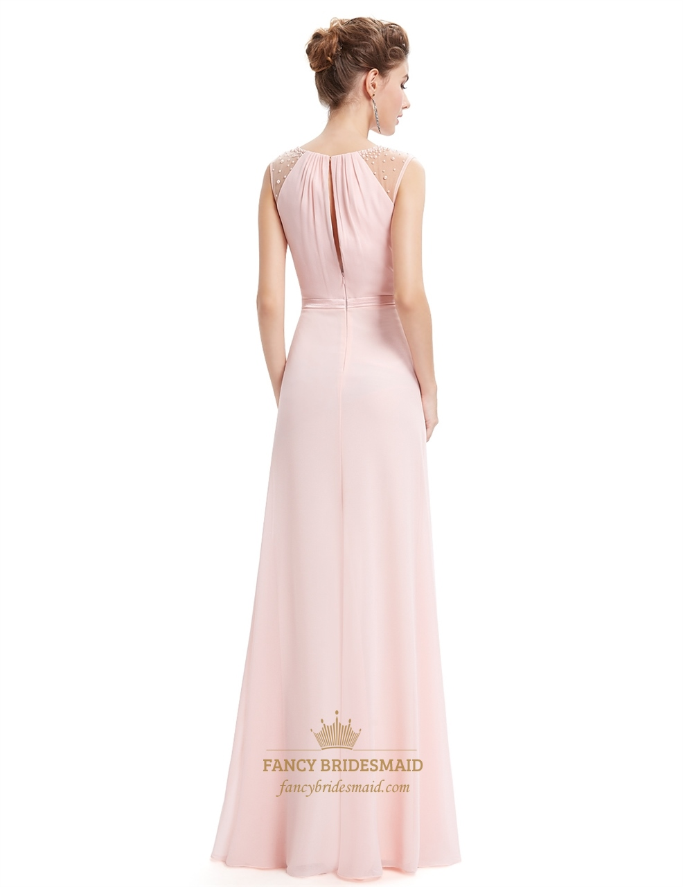 Pearl pink floor length chiffon prom dresses with beaded for Floor length dresses