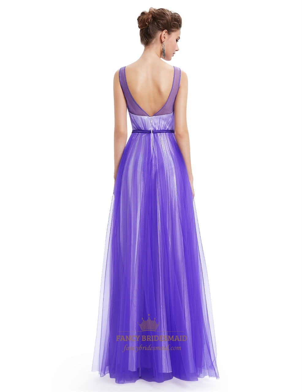 Purple Tulle Illusion Neckline Open Back Prom Dress With ...